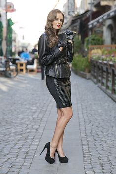 very sexy in leather and heels