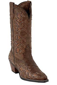 Ariat Dandy Ladies Sassy Brown w/ Sandy Brown Inlays Snip Toe Western Boots