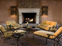 """""""Stone can be used outdoors as either the entire makeup of the fireplace or as accents within the design."""" says Lou."""