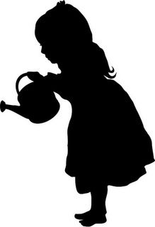 Girl with watering can silhouette Girl Silhouette, Silhouette Images, Silhouette Portrait, Kirigami, Stencil Patterns, Crayon Art, Silhouette Cameo Projects, Digital Stamps, Paper Art