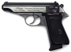 The Walther PP (Polizeipistole, or police pistol) series pistols are blowback-operated semi-automatic pistols, developed by the German arms manufacturer Walther. It features an exposed hammer, a traditional double-action trigger mechanism, a single-column Walther Pp, Weapons Guns, Guns And Ammo, Rifles, Surplus Militaire, Cool Guns, Self Defense, Shotgun, Airsoft