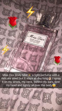 Miss Dior beauty Body Mist Perfume Body Spray, Bath And Body Works Perfume, Perfume Scents, Fragrance Parfum, Fragrances, Perfume Collection, Body Mist, Health And Beauty Tips, Smell Good