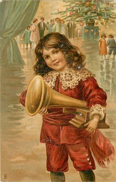 boy in red suit holds phonograph under his left arm