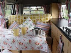 Yellow Decor in a VW camper.