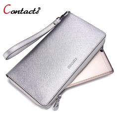 CONTACT'S Genuine Leather Wallet Women Purse Lady Gold & Silver Purse Female Long Card Holder Phone Clutch Bag Wallet Women 2017