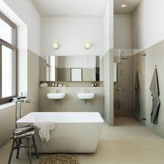 Mooie kleurverdeling op de muren van deze moderne badkamer