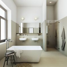 bathroom 3D presentation rendering : stråhattsfabriken : property development in stockholm