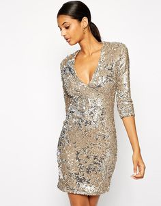 Image 1 of TFNC Bodycon Sequin Dress With Deep Plunge Neckline