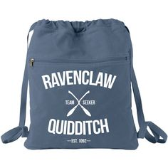 Ravenclaw Quidditch Cinch Pack Backpack (39 CAD) ❤ liked on Polyvore featuring bags, backpacks, print bags, blue backpack, print backpacks, pattern bag and blue bag