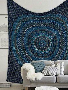 Jaqui Blue Teal Moroccan Mandala Boho Bohemian Wall Tapestry