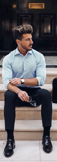 Spring outfits men - 15 Sophisticated Formal Outfit Ideas For Men – Spring outfits men Outfit Hombre Formal, Formal Men Outfit, Mens Formal Shoes, Formal Trousers For Men, Formal Dresses For Men, Men Formal, Formal Shirts For Men, Formal Suits, Preppy Fall Outfits