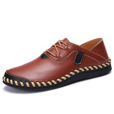 Large Size Men Hand Stitching Genuine Leather Lace Up Casual Oxfords