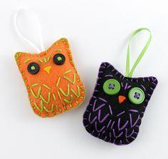 Halloween Owl Ornaments Set Felt Black & Orange by lova revolutionary, via Flickr