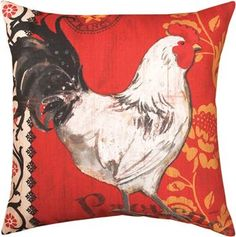 """SLLPRR 18"""" x 18"""" La Provence Roosters Red  Climaweave Pillow© Jennifer Brinley, licensed by Ruth Levison Design                                                        country french"""
