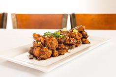 Spicy Thai Garlic Caramel Chicken Wings Caramel Chicken, Spicy Thai, Executive Chef, Chef Recipes, Chicken Wings, Almond, Garlic, Favorite Recipes, Food