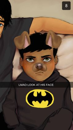 Batfam + Snapchat 1/?? <only Dick is insane enough to try this on Damian because he'll let him