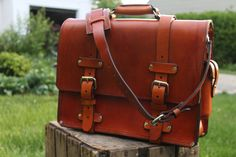 Handmade leather bag that will outlast you by Seth Gray. Gorgeous leather briefcase, handmade in the USA. Leather bag, fall fashion men's, briefcase.