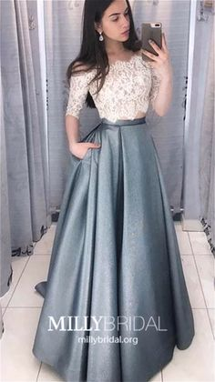 Two Pieces Half Sleeve Lace Grey Long Evening Prom Dresses, Cheap Sweet 16 Dresses, 18433 - Two Pieces Half Sleeve Lace Grey Long Evening Prom Dresses, Cheap Swee – LoverBridal Source by loverbridals - Cheap Sweet 16 Dresses, Elegant Dresses For Women, Elegant Prom Dresses, Cheap Prom Dresses, Stylish Dresses, Summer Dresses, Indian Dresses For Women, Wedding Dresses, Simple Dresses