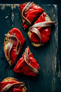 Anchovies and red peppers over toast | Aiala Hernando Photography