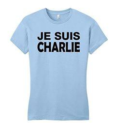 Comical Shirt Juniors Je Suis Charlie I Am Charlie Shirt T-Shirt Light Blue L, Women's, Size: Large