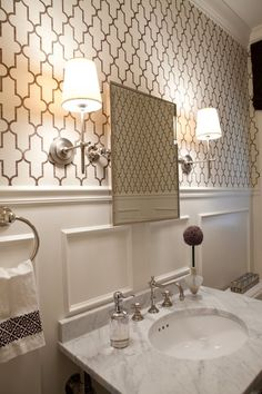 Moroccan inspired grass cloth wall covering in a powder room by designer Elizabeth Reich, Baltimore, MD.