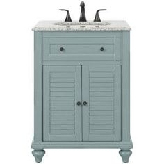 Urban Furnishing Clara 24 in. W x 18.5 in. D Bath Vanity in Blue with Porcelain Vanity Top in White with White Basin-SP-Clara-24NB - The Home Depot 24 Inch Vanity, 24 Inch Bathroom Vanity, Vanity Sink, Bath Vanities, Small Bathroom, Bathroom Ideas, Master Bathroom, Granite Vanity Tops, Marble Vanity Tops
