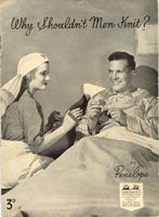 wartime knitting book for convalescing servicemen, with simple items like scarves, wristlets and squares for a blanket. (looks British)