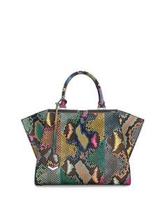 Trois-Jour Petite Painted Python Tote Bag, Multi by Fendi at Neiman Marcus.