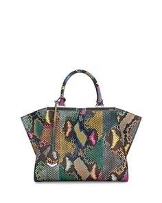 Trois-Jour Petite Painted Python Tote Bag, Multi by Fendi at Neiman Marcus.