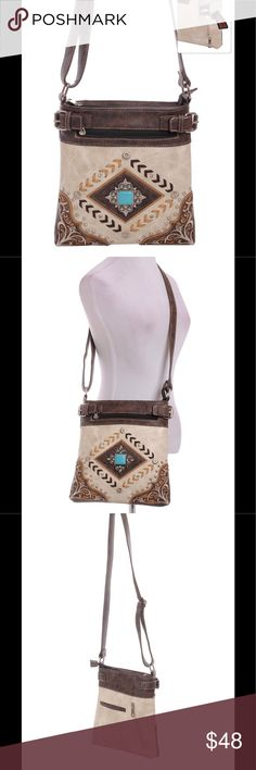 """Western Concho Cross Body Conceal Carry Gun Purse This purse is NEW and not used. Check out our other beautiful bags and bundle! Size: 9.25""""(L) X 1.50""""(W) X 10.00""""(H) Material: Faux Leather Rear Zipper Concealed Carry Handgun Pocket (8.5"""" X 6"""") Adjustable & Detachable Shoulder Strap (Longest Shoulder Strap Drop: 23.5"""") Inside Wall Zipper Pocket & Accessory Pocket - Rear Open Pocket SORRY, NO TRADES. Color: Beige Bags Crossbody Bags"""