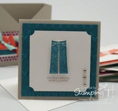 Stampin' Up! Stamping T! - Patterned Occasions Jeans Note Card