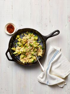 """""""Supermarket chile flakes are raw heat,"""" says John Beaver, co-owner of Oaktown Spice Shop, one of our favorite shopping spots in Oakland. Cream Cheese Scrambled Eggs, Creamy Scrambled Eggs, Savory Breakfast, Breakfast Dishes, Breakfast Ideas, Brunch Ideas, Brunch Food, Sunday Brunch, Breakfast Recipes"""