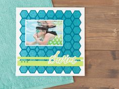 Family Album Cricut image set -- Swim scrapbook page layout. Make It Now in Cricut Design Space