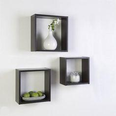 Modern interior design for amazing apartment Cubes, Floating Cube Shelves, Cube Mural, Etagere Cube, Etagere Design, Shelf Arrangement, Bedroom Wall Designs, Wall Shelves, Shelving