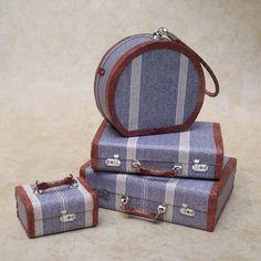 1:12 Scale Miniature Luggage / Retro Stripe 4-Piece Matching Set, Gray/Tan
