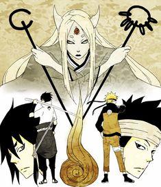 Kaguya Otsusuki, her grandsons Asura and Indra- their reincarnations- naruto and sasuke