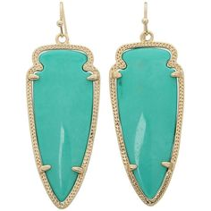 Kendra Scott Skylar Earring ($65) ❤ liked on Polyvore featuring jewelry, earrings, gold teal magnesite, earrings jewelry, teal earrings, 14 karat gold earrings, tribal earrings and teal jewelry