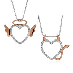 """Diamond Accent Devil & Angel Heart Pendant Set in Sterling Silver with 18"""" Chain #Netaya"""