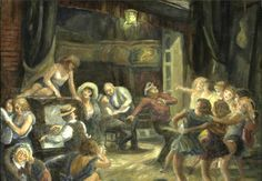 Dance rehearsal signed 'Don Freeman' (upper right) oil on masonite 24 x overall: 34 x 39 Don Freeman, Social Realism, Art Students League, Theater, Oil, Dance, Illustration, Painting, Teatro