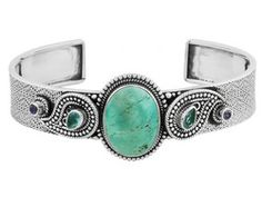 Hubei Turquoise (Tm) With .74ctw Blue Apatite And .20ctw Iolite Sterling Silver Cuff