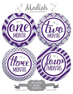 FREE GIFT, Monthly Baby Stickers, Girl, Silver Glitter, Purple, Hearts, Baby Month Stickers, Belly to Baby, Purple Silver Nursery Decor