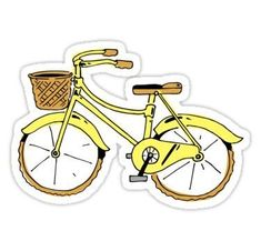 """Fahrrad gelb"" Aufkleber von Noah Denten You are in the right place about Laptops Here we offer you Stickers Cool, Red Bubble Stickers, Tumblr Stickers, Phone Stickers, Printable Stickers, Preppy Stickers, Cute Laptop Stickers, Vintage Sticker, Tumblr Yellow"