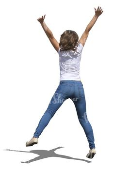 A girl jumping up in the air