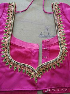 embroidery with blouse ausbeta Best Blouse Designs, Simple Blouse Designs, Bridal Blouse Designs, Blouse Neck Designs, Blouse Patterns, Hand Work Blouse Design, Aari Work Blouse, Back Design Of Blouse, Embroidery Neck Designs