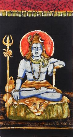 Lord Shiva (Batik Painting on Cotton Cloth - Unframed))