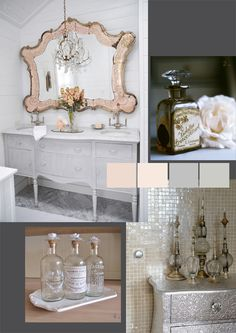 The prettiest bathroom accessories! #apothecary #jar #chandelier #silk  #roses #blush #pink #apricot #soap #girly #girlie #feminine #white #silver #vanity #tiles