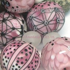 "ANASTASIA--lampwork beads--(7)--""JUST PINK""--SRA"