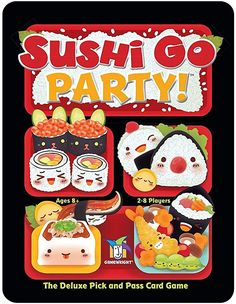Amazon.com: Gamewright Sushi Go Party! - The Deluxe Pick & Pass Card Game, Multicolored: Toys & Games Sushi Go, Sushi Party, Sashimi, Edamame, 2 Person Card Games, Party Card Games, Types Of Sushi, Family Fun Games, Board Games