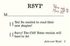 Literature Lover Wedding Invitation -Matching RSVP