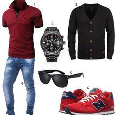 Cooles Männer-Outfit mit rotem Poloshirt, Songdu Armbanduhr, schwarzer Strickjacke, roten New Balance Schuhen, Sonnenbrille und Leif Nelson Jeans. #outfit #style #fashion #menswear #mensfashion #inspiration #shirts #weste #cloth #clothing #männermode #herrenmode #shirt #mode #styling #sneaker